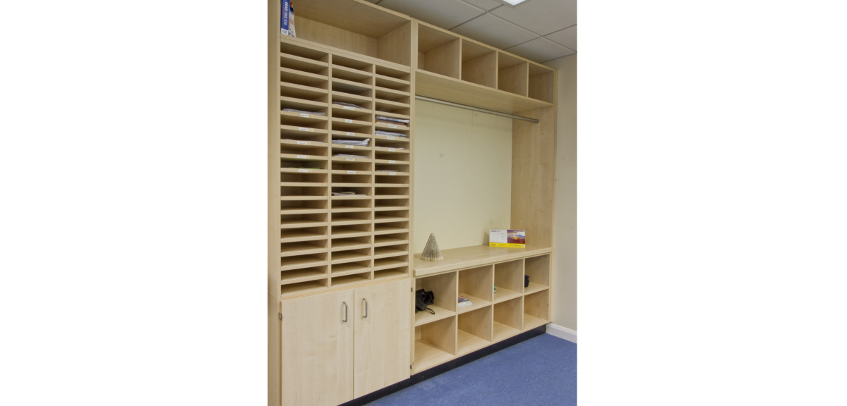 School storage section for papers